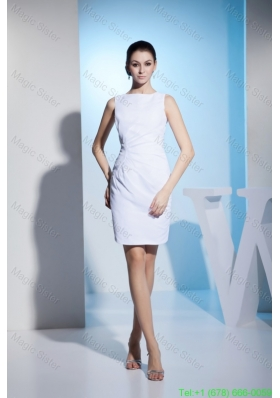 Bateau Neck Ruched Short White Wedding Dresses for Outside Wedding