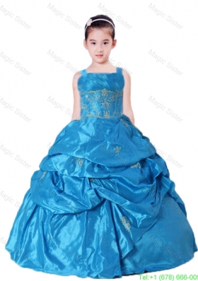 Blue Straps Little Girl Pageant Dress with Appliques and Pick-ups