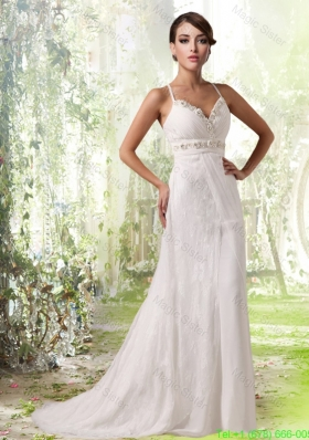 Designer Spaghetti Straps Lace Beading Cheap Wedding Dress with Criss Cross