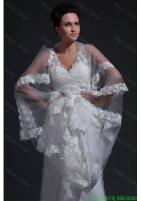 Exquisite V Neck A Line Lace Appliques Wedding Dress with Court Train