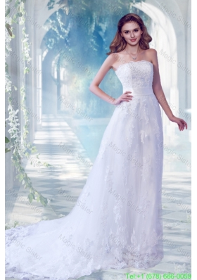 Fashionable Column Lace Appliques Wedding Dreses with Chapel Train