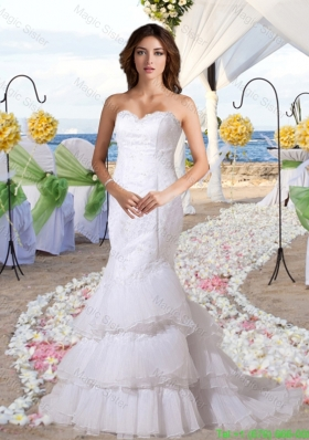 Fashionable Mermaid Sweetheart Sweep Wedding Dress with Lace