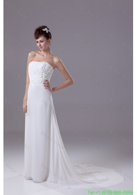 Floral Embellishment And Ruche Strapless Sweep Train Bridal Gowns