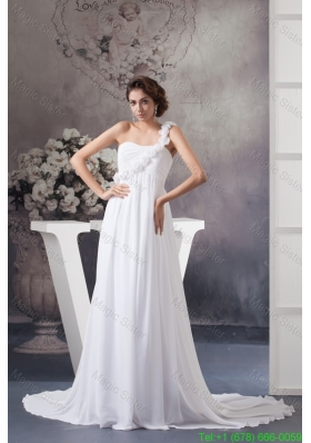 Flowery One Shoulder Chiffon Wedding Dress with Ruches and Court Train