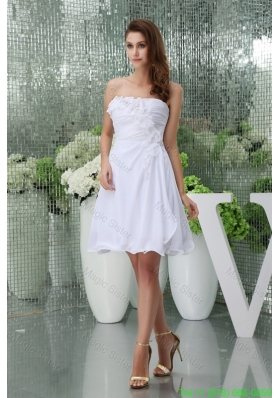 Hanle Flowers and Ruching Decorated Strapless Bridal Gown Flounced Hemline