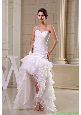 High Low Ruffled Layers Ruching Sweetheart Wedding Dresses in White