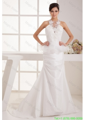Ruched and Appliques Mermaid Bridal Dresses with Special Cool Neckline