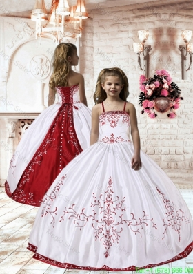 Spaghetti Straps White Satin Little Girl Pageant Dress with Embroidery