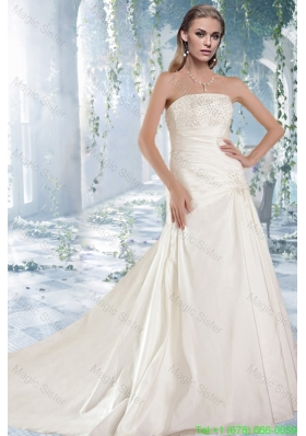 White Princess Strapless Court Train Wedding Dresses with Beading