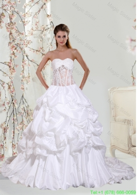 2016 Lace Ball Gown Beautiful Wedding Dresses with Chapel Train