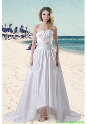 Cheap Hand Made Flowers Sweetheart Wedding Dress with Brush Train