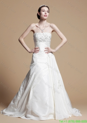 Classical A Line Strapless Wedding Gowns with Beading and Appliques
