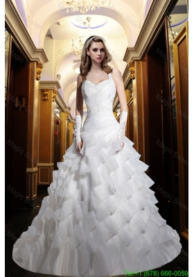 Elegant A Line Halter Beading Lace Wedding Dress with Zipper Up
