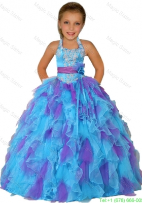 Ball Gown Halter Top Remarkable Appliques Red Little Girl Pageant Dress