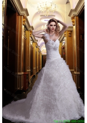 Beautiful Princess One Shoulder Court Train Beading Wedding Dresses