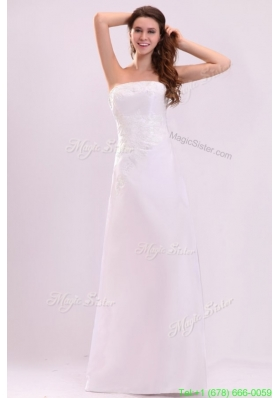Cheap Column Strapless Floor Length Wedding Dress with Appliques