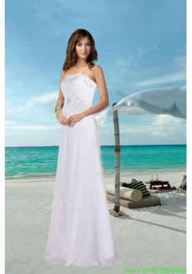 Cheap Empire Strapless Beading Wedding Dress for Beach