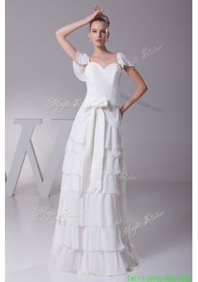 Column Sweetheart Neckline Ruffled Layers Sashes Wedding Gowns