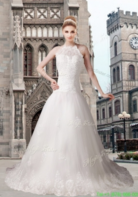 Elegant A Line Halter Chapel Train Beading Wedding Dresses with Lace