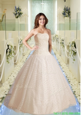 Modest Strapless Appliques Wedding Dresses with Appliques