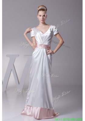 Short Sleeves V Neck Wedding Dress in White with Pink Sash and Brush Train