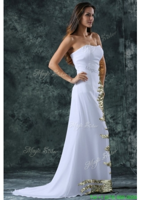 Strapless Empire Chiffon Sequins Wedding Dress with Sweep Train