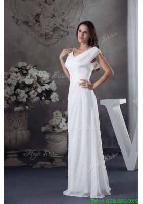 V Neck Buttrfly Sleeves Sash Sheath Floor Length Bridal Dresses