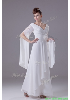 V Neck Handle Flowers White Chiffon Wedding Dress with Long Slit Sleeves