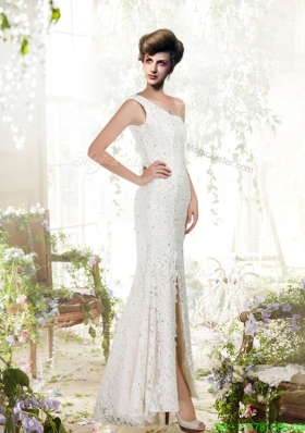 White Column One Shoulder Lace Beading Wedding Dress with Floor Length
