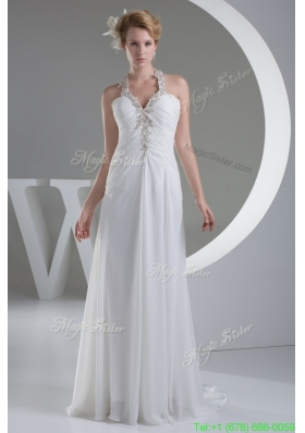 White Halter Top Ruched Wedding Dress with Appliques and Beading