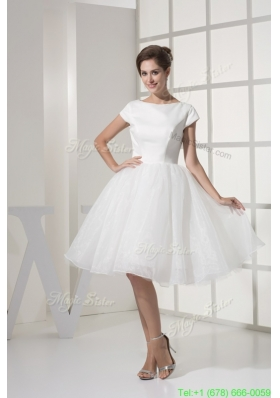 White Knee Length Scoop A Line Bodice Bridal Gowns For Out Door Wedding