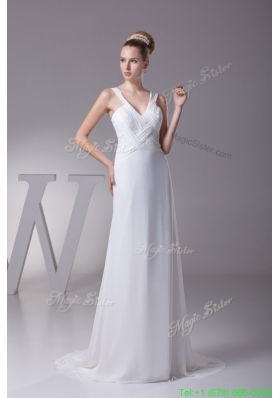 Wide Straps V Neck Brush Train Wedding Dresses with Ruching and Beading