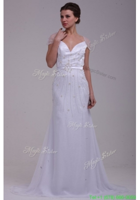 2015 Fall Column V Neck Beading Brush Train Chiffon Wedding Dress