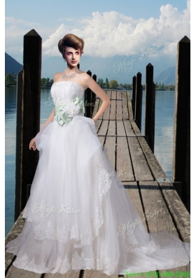 2015 Winter A Line Appliques Wedding Dresses with Hand Made Flower