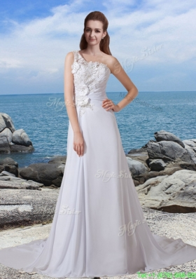 2016 Spring A Line One Shoulder Court Train Wedding Dress with Appliques