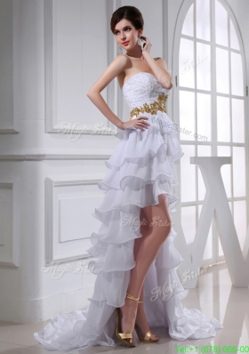 2016 Spring Empire Sweetheart Ruffled Layers Chiffon High-low Wedding Dress