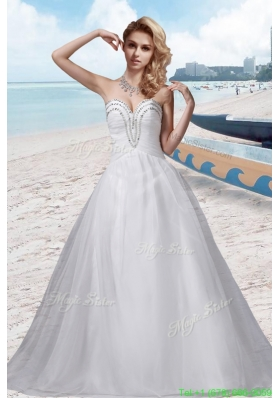 A Line Beading Sweetheart White Wedding Dress for 2016 Spring