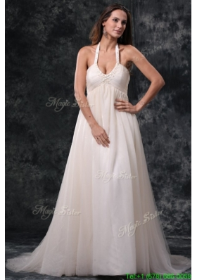 A Line Halter Court Train Beading Tulle Wedding Dress