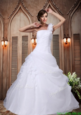 A Line One Shoulder Hand Made Flowers Wedding Dresses for Garden