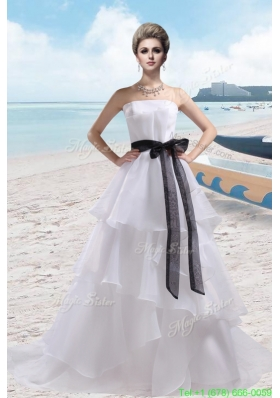 A Line Strapless Court Train Cheap Wedding Dress for 2016