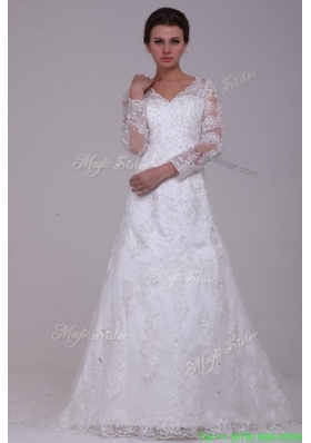 A Line V Neck Lace Up Lace Appliques Court Train Spring Wedding Dress