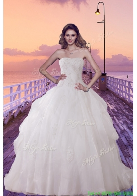 Beautiful Brush Train Ball Gown Wedding Dress with Appliques