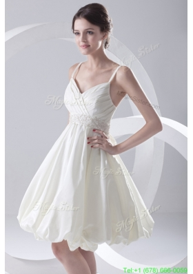 Cheap A Line Spaghetti Straps Knee Length Ruching Satin Wedding Dress