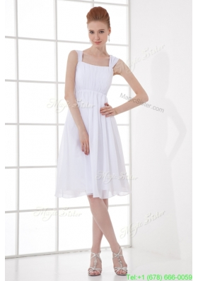 Cheap Empire Straps Chiffon Ruching and Bowknot White Wedding Dress