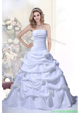 Cheap Hand Made Flowers Strapless Brush Train Wedding Dresses