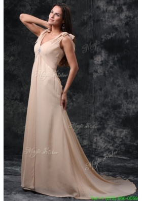 Empire Champagne V Neck Beading Ruching Court Train Chiffon Wedding Dress
