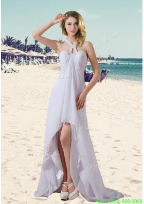 Empire Halter High Low Beading Wedding Dresses for Beach