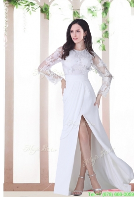 Empire Scoop Appliques Long Sleeves Brush Train Wedding Dresses