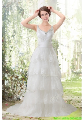 Lace Column Scoop Ruffled Layers Wedding Dresses with Brush Train