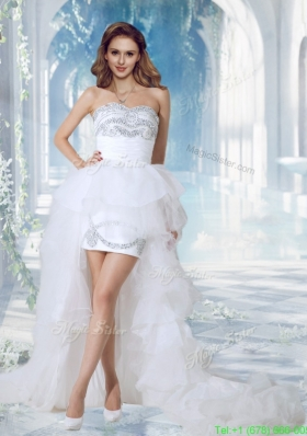 Lovely Sweetheart High Low Beading Wedding Dress for Beach